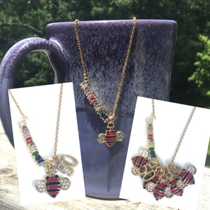 Bar Necklace, Multi Colored Glass Stones