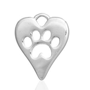Heart Charm with Paw Print