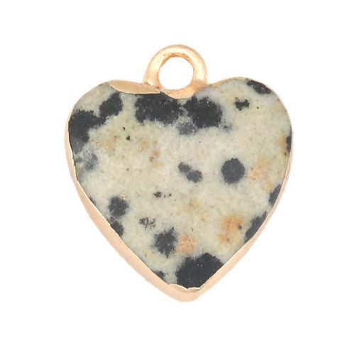 Gemstone/Natural Stone Khaki & Black & Gold Speckled Heart small