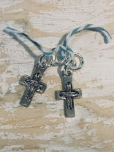 Load image into Gallery viewer, HOOP EARRING CHARMS cross with tie strands look