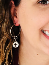 Load image into Gallery viewer, HOOP EARRING CHARMS cross round with cutouts