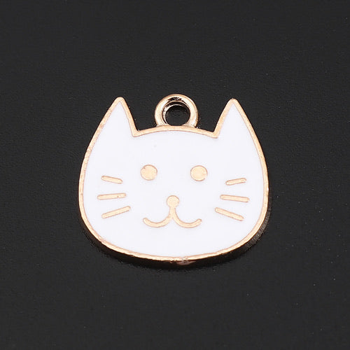 Cat Charm, White Enamel
