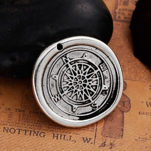 Compass Charm, Large Silver Tone