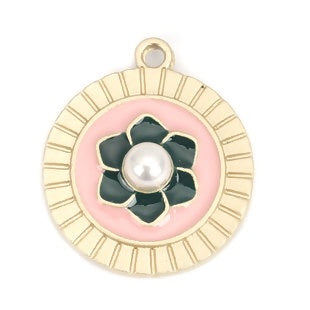 Flower Charm, pink and black enamel