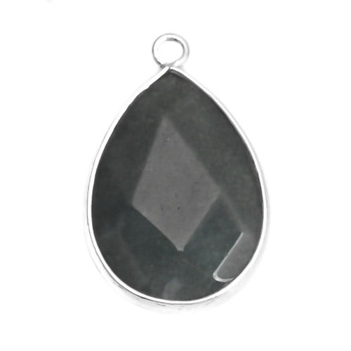 Gemstone/Natural Stone Shiny Black Drop SILVER Rimmed