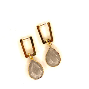 Earrings Rectangle, Gold Plated Stainless Steel