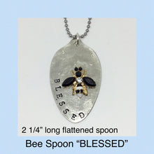 Load image into Gallery viewer, Hand Stamped Spoon BLESSED, with Bee