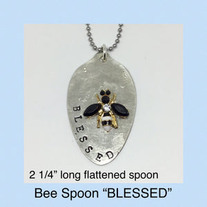Hand Stamped Spoon BLESSED, with Bee