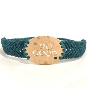Do Good Always Coconut Shell Bracelet Teal Band Oval