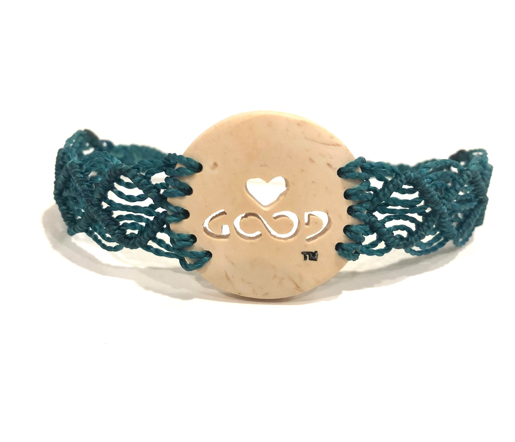 Love Good Always Coconut Shell Bracelet Mayan Lace Teal Band