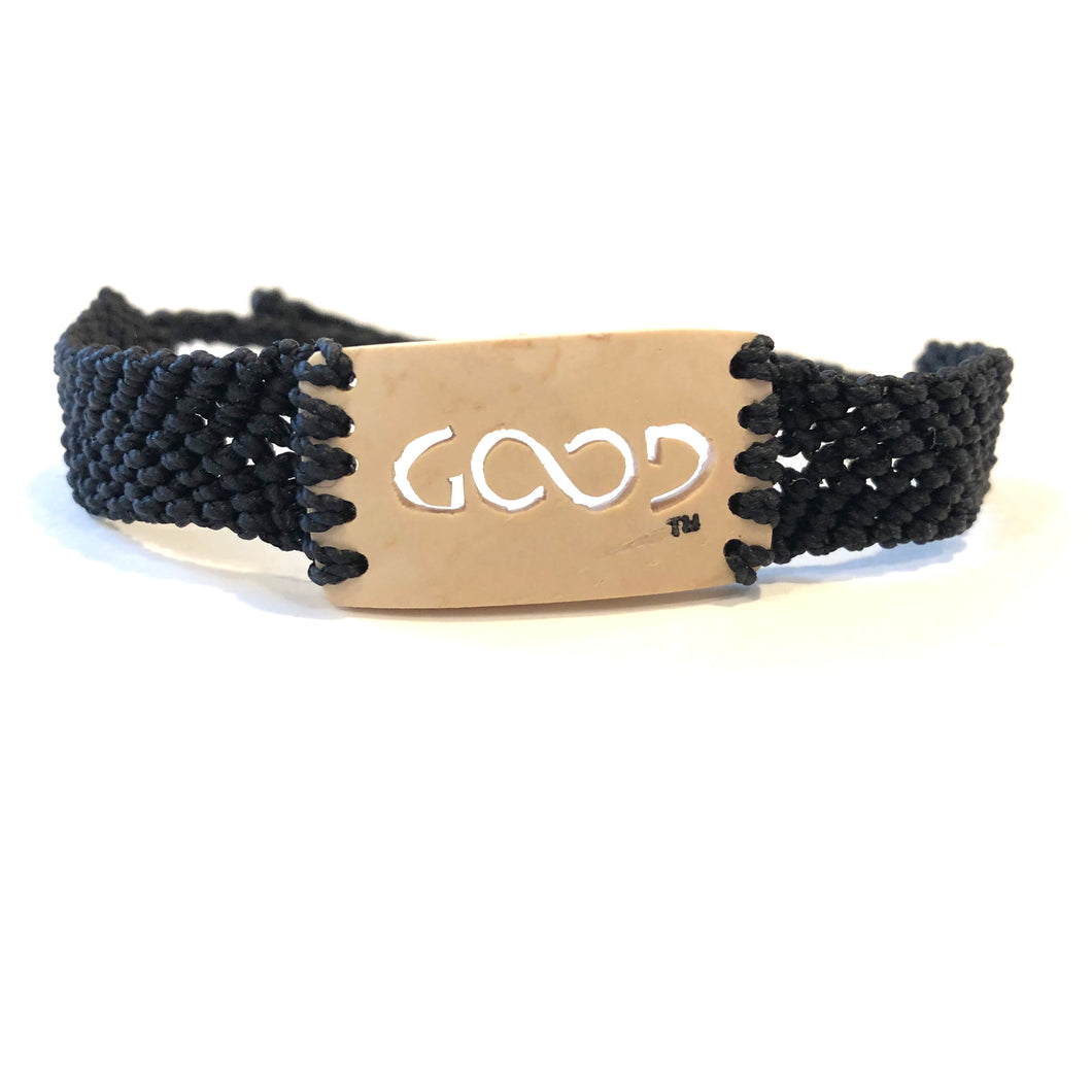 Good Always Coconut Shell Bracelet Black Band Rectangle