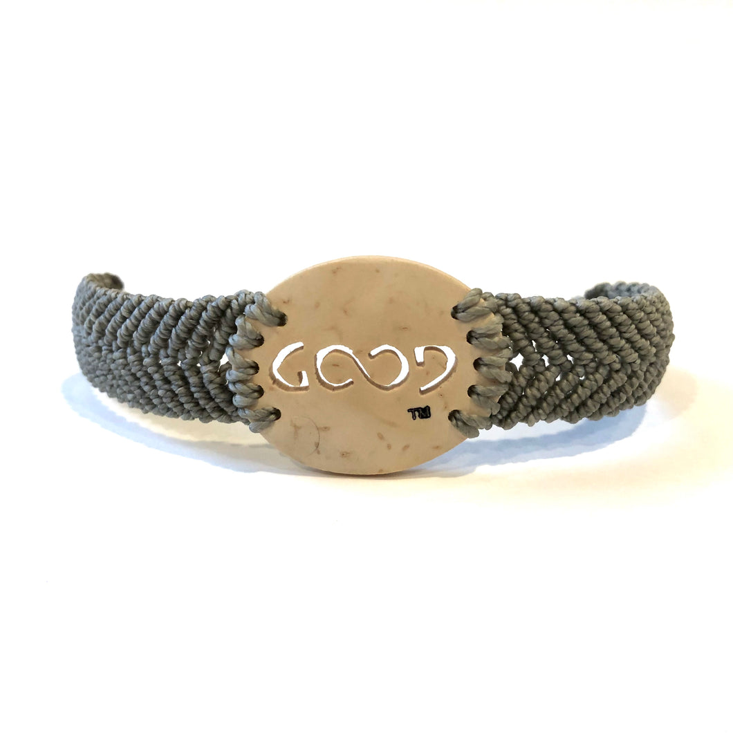 Good Always Coconut Shell Bracelet Grey Band Oval