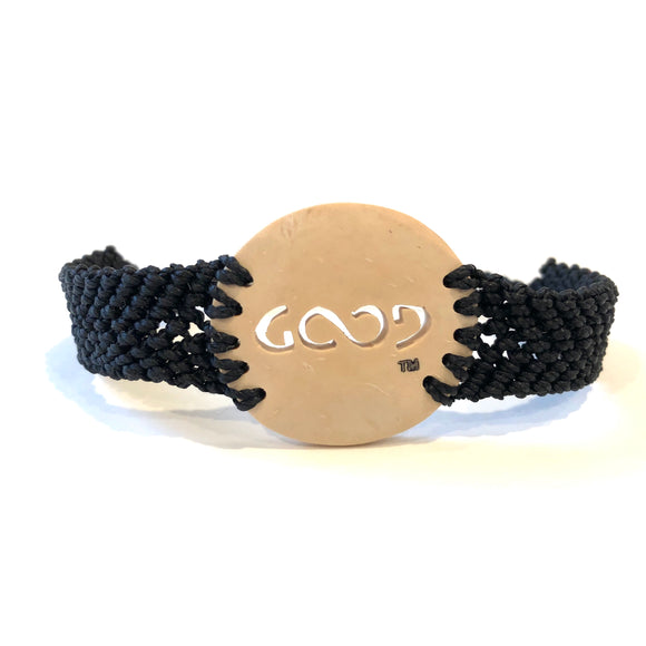 Good Always Coconut Shell Bracelet Black Band Circle