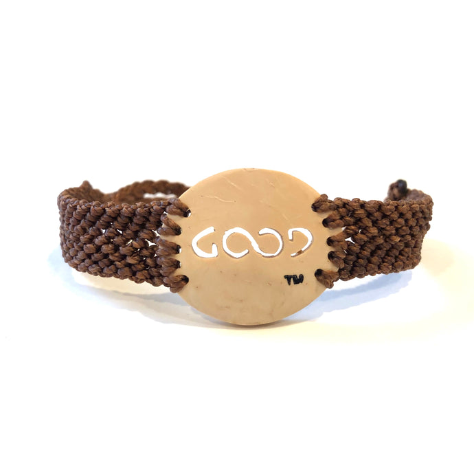 Good Always Coconut Shell Bracelet Brown Band Oval