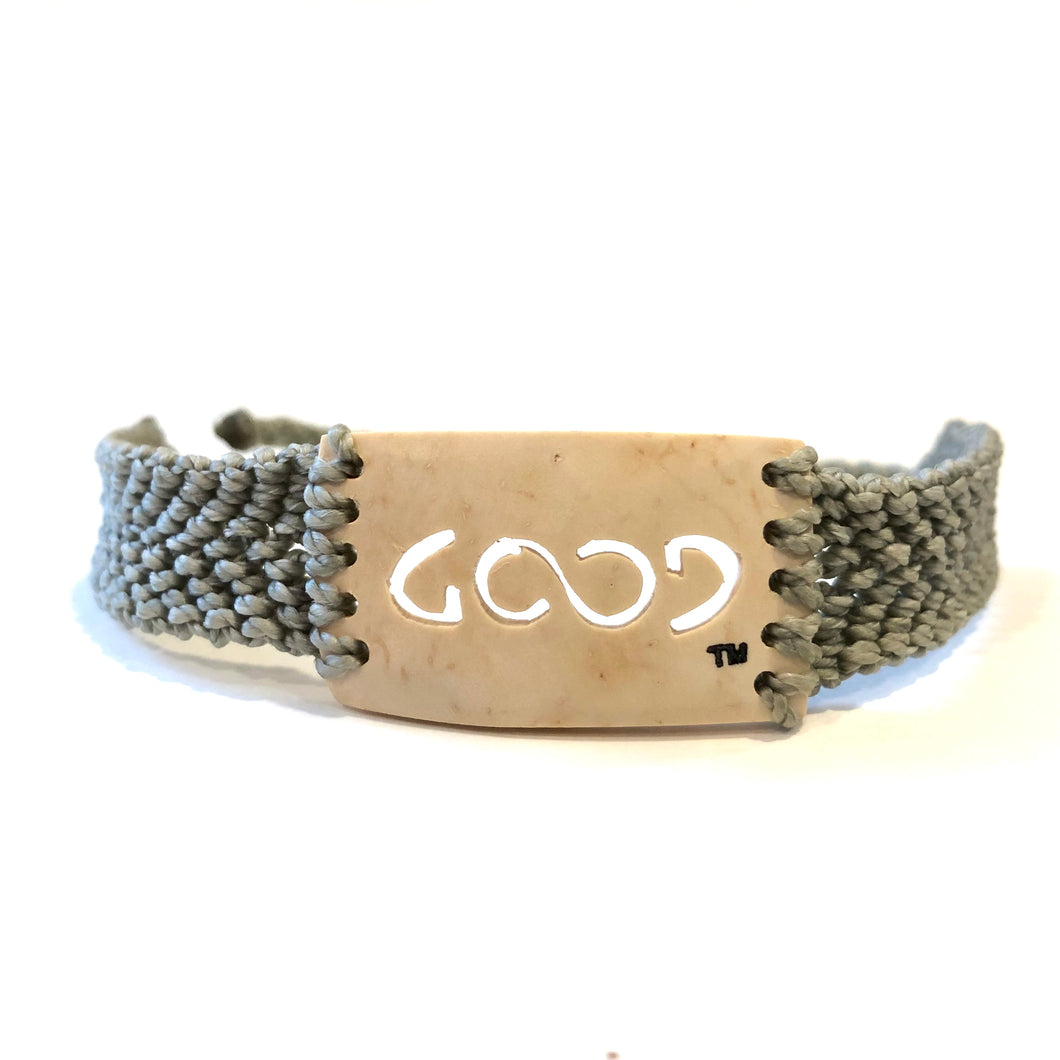 Good Always Coconut Shell Bracelet Grey Band Rectangle