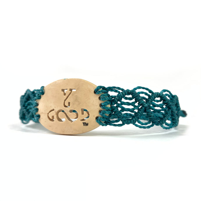 Young and Good Always Diffuser Bracelet (Coconut Shell) Teal Band