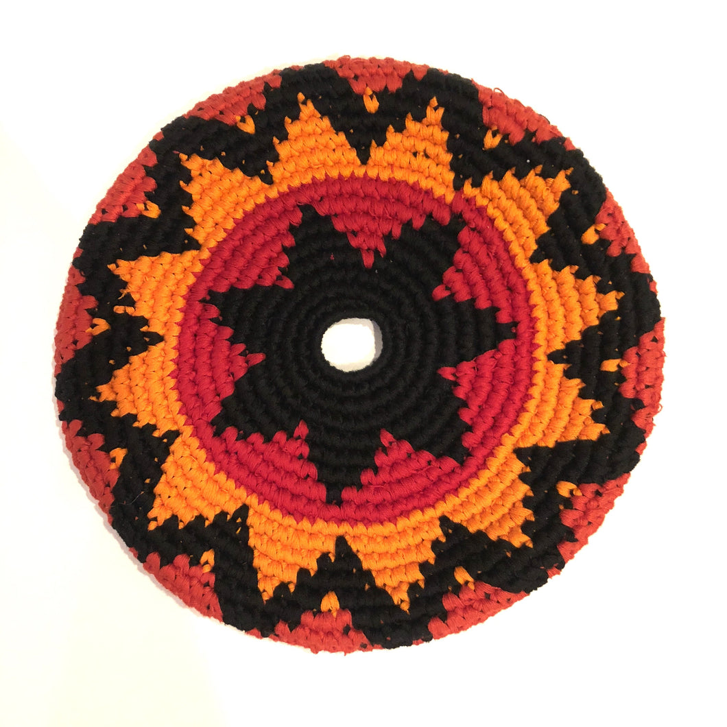 Mayan Frisbee Orange, Gold, Black Star Pattern (Small 7.5 Inch)