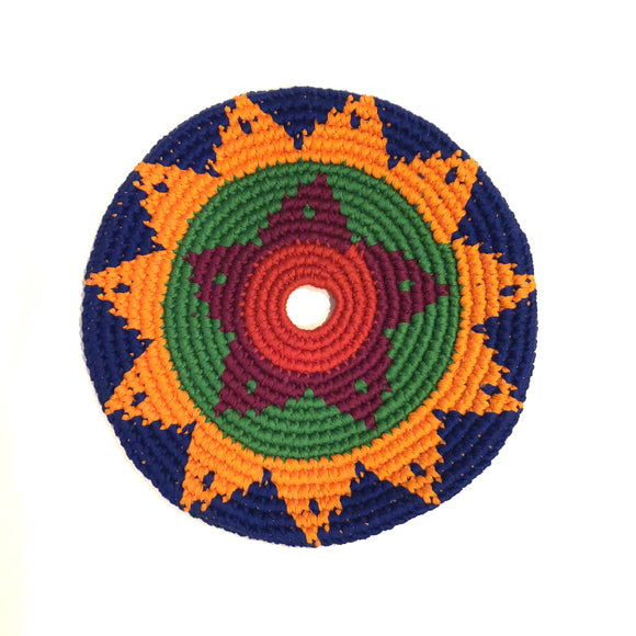 Mayan Frisbee Blue and Orange Star Pattern (Large 9 Inch)