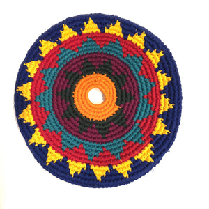 Mayan Frisbee Blue and Yellow Pattern (Small 7.5 Inch)