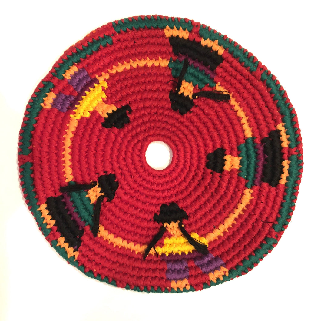 Mayan Frisbee People  Design [Red] (Large 9 Inch)