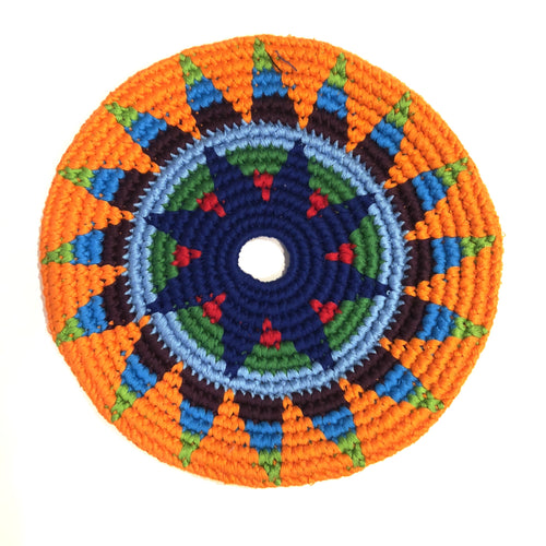Mayan Frisbee Orange, Blue, Triangle Pattern (Large 9 Inch)