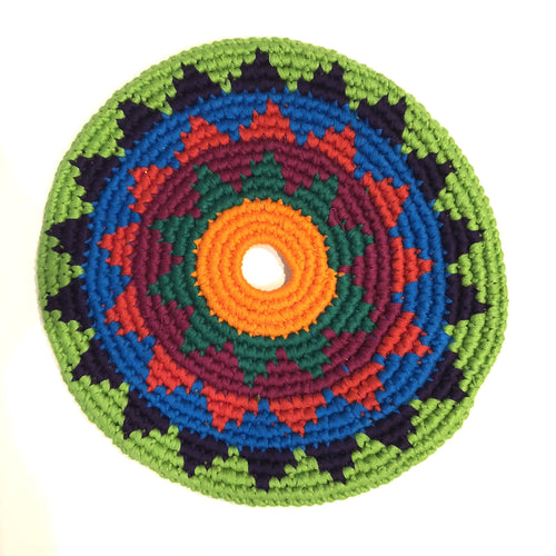 Mayan Frisbee Green and Black Triangle Pattern (Small 7.5 Inch)