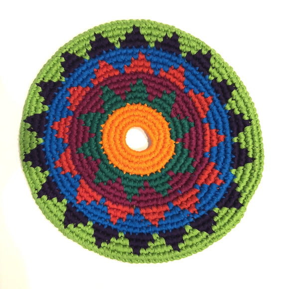 Mayan Frisbee Green and Black Triangle Pattern (Large 9 Inch)
