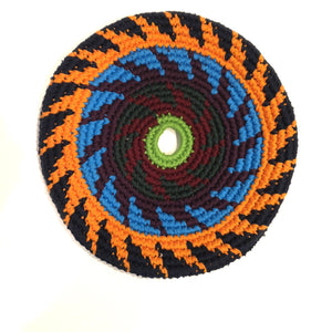 Mayan Frisbee Black, Orange, and Blue Pattern (Large 9 inch)
