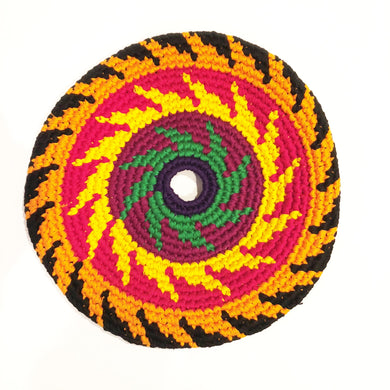 Mayan Frisbee Black, Orange, and Red Pattern (Large 9 Inch)