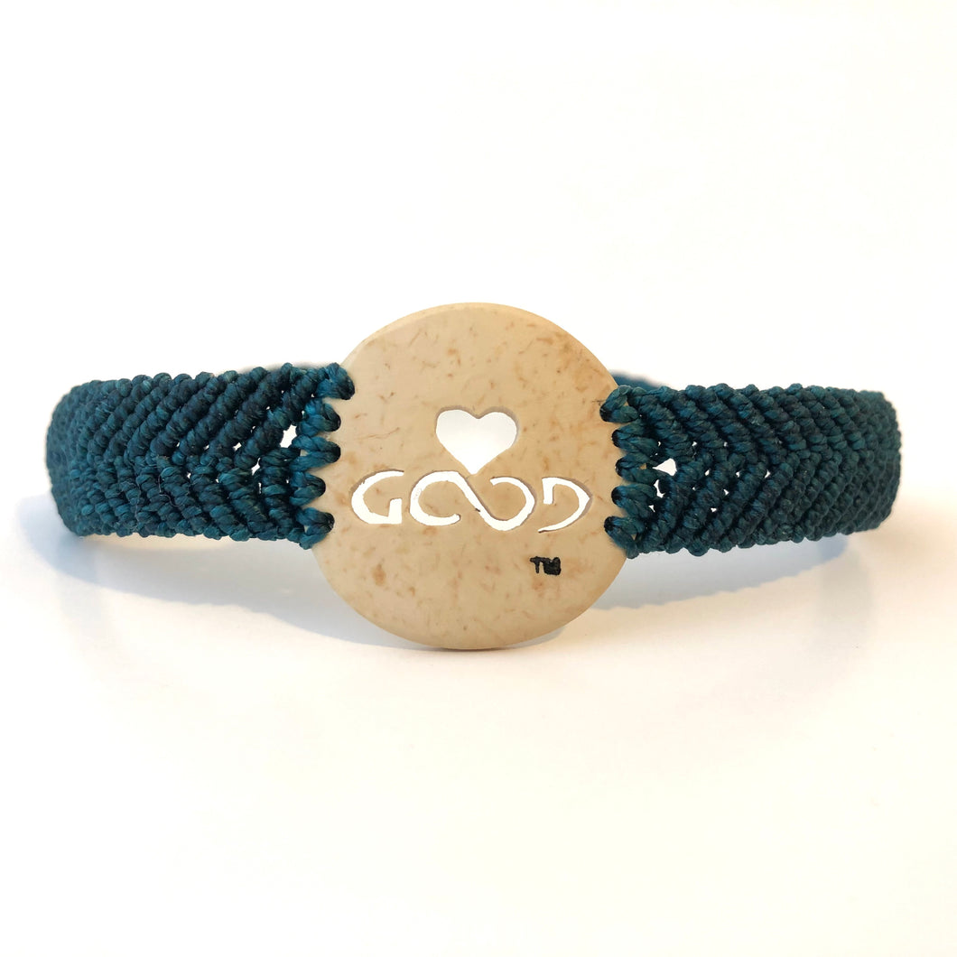 Love Good Always Coconut Shell Bracelet Traditional Band Teal