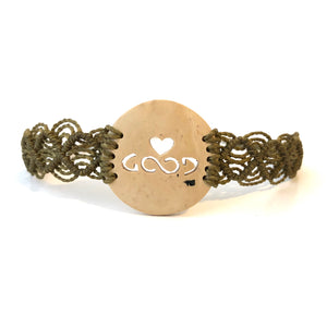 Love Good Always Coconut Shell Bracelet Mayan Lace Taupe Band