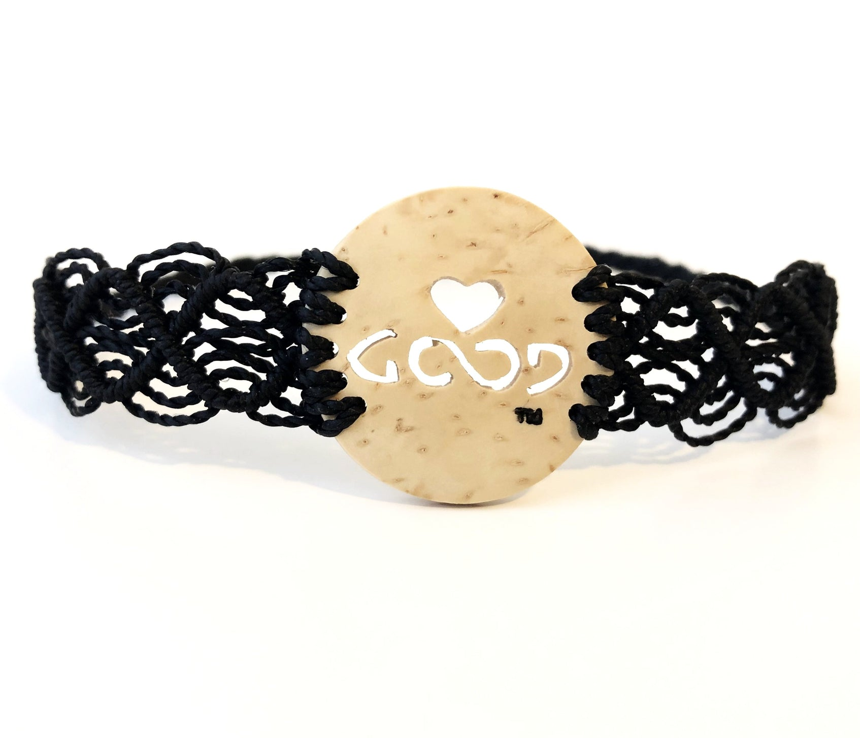 Love Good Always Coconut Shell Bracelet Mayan Lace Black Band
