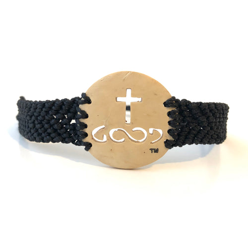 He Is Good Always Coconut Shell Bracelet Black Band
