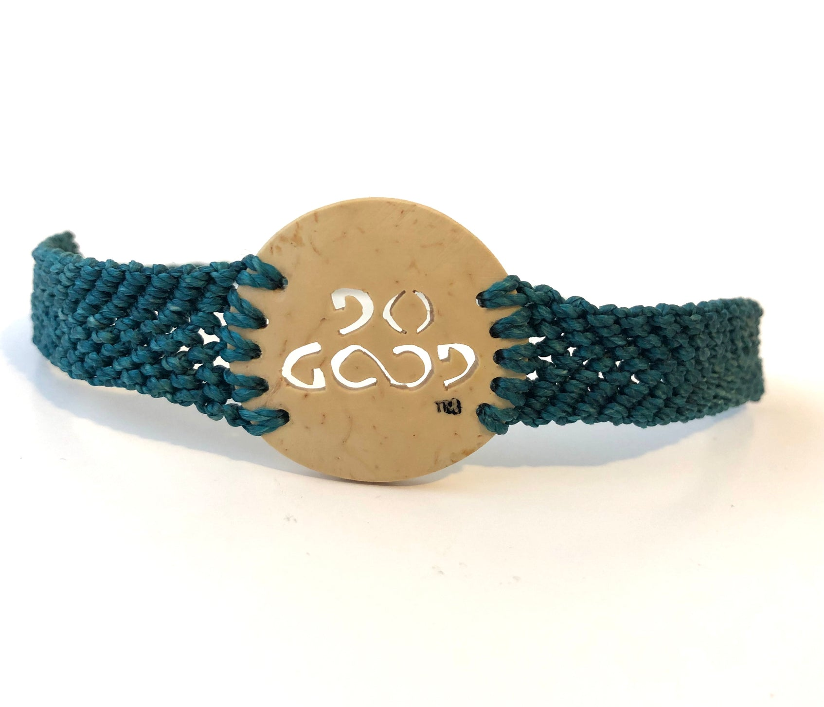 Do Good Always Coconut Shell Bracelet Teal Band Circle