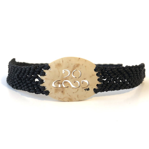 Do Good Always Coconut Shell Bracelet Black Band Oval