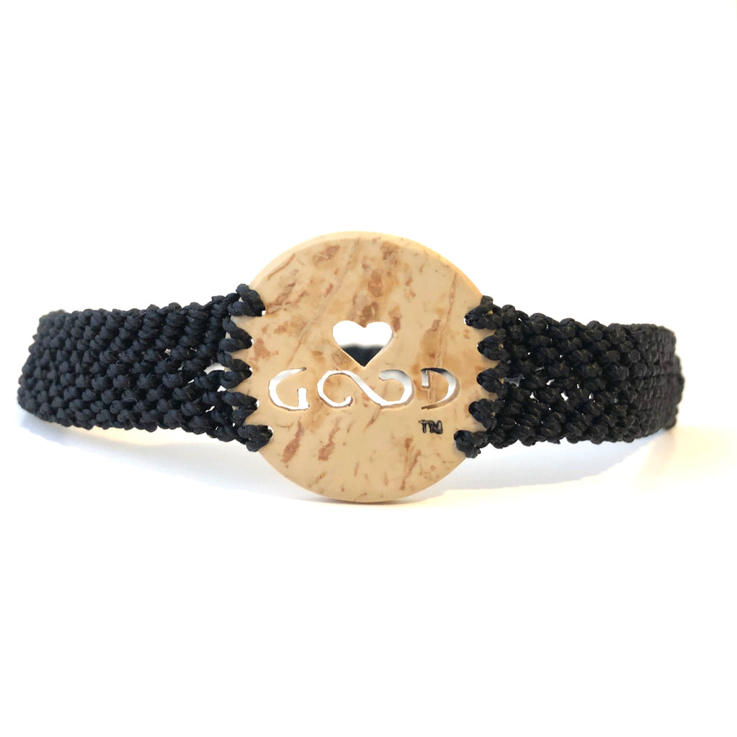 Love Good Always Coconut Shell Bracelet Traditional Lace Black Band