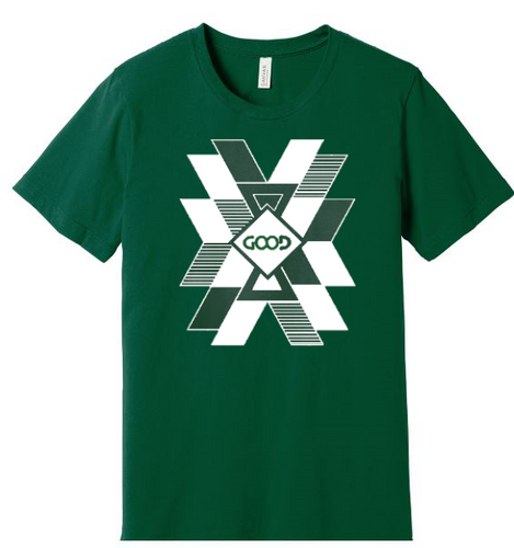 White Burst Design (Dark Green Shirt)