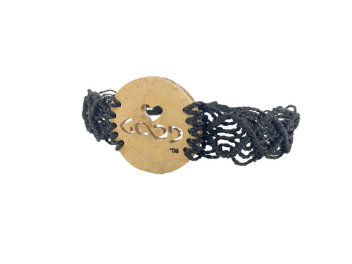 Heart Strings Diffuser Bracelet Mayan Lace (Black Band)