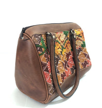 Load image into Gallery viewer, Full Grain Leather Handbag with Mayan Huipil Fabric Body No. 35