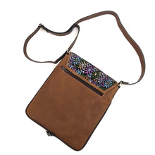 Load image into Gallery viewer, Cross Body Genuine Leather Hand Crafted Mayan Artisan Bag Brown Mayan huipil fabric body No. 21