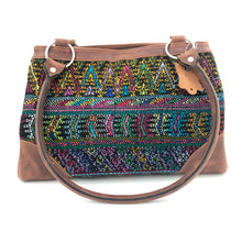 Load image into Gallery viewer, Full Grain Leather Handbag with Mayan Huipil Fabric Body No. 23