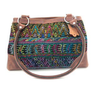 Full Grain Leather Handbag with Mayan Huipil Fabric Body No. 23