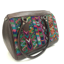 Load image into Gallery viewer, Full Grain Leather Handbag with Mayan Huipil Fabric Body No. 30