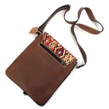 Load image into Gallery viewer, (Concealed Carry) Cross Body Genuine Leather Hand Crafted Mayan Artisan Bag Brown Mayan huipil fabric body No. 25