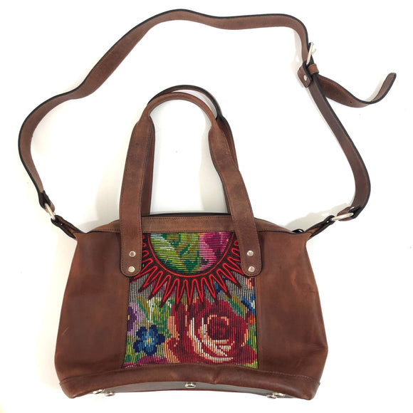 Full Grain Leather Handbag with Mayan Huipil Fabric Body No. 33