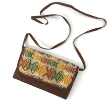 Load image into Gallery viewer, Mayan Artisan Leather Clutch Purse with Huipil Fabric Body No. 5