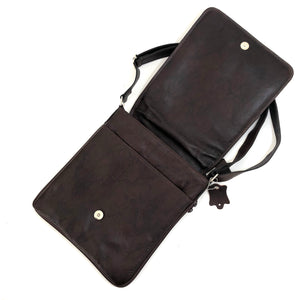 Cross Body Genuine Leather Hand Crafted Mayan Artisan Bag Ebony No. 26