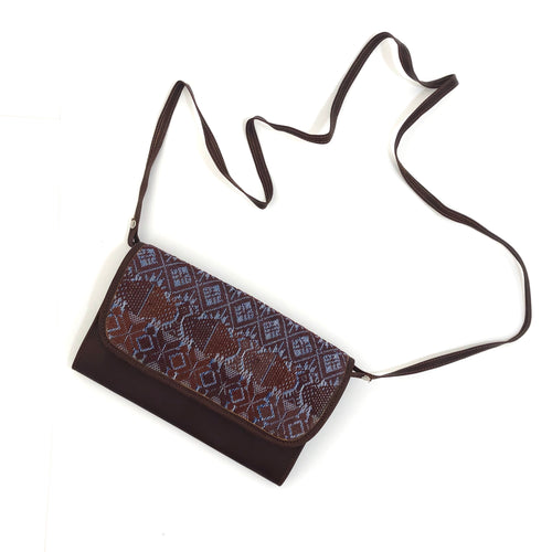 Mayan Artisan Leather Clutch Purse with Huipil Fabric Body No. 9