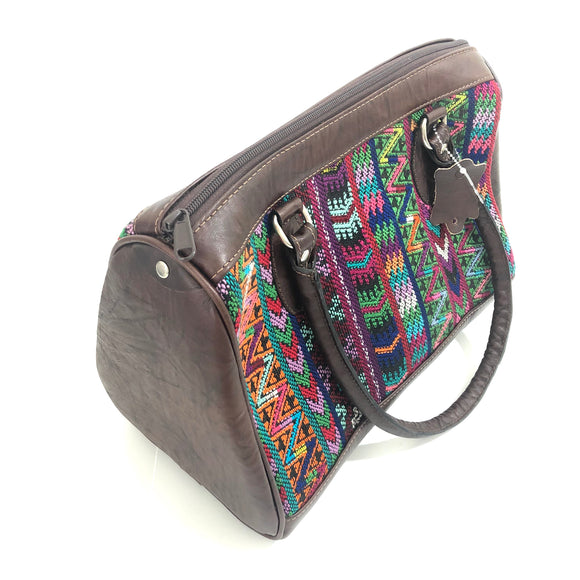 Full Grain Leather Handbag with Mayan Huipil Fabric Body No. 30