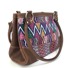 Load image into Gallery viewer, Full Grain Leather Handbag with Mayan Huipil Fabric Body No. 27
